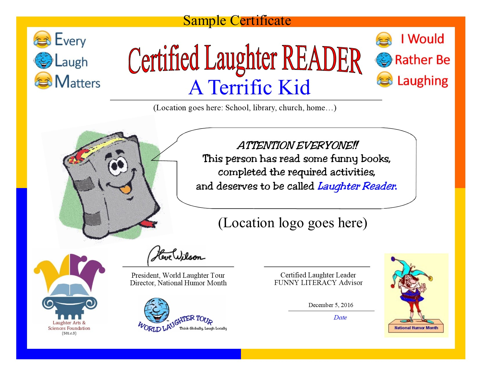 Funny literacy gets kids reading world laughter tour we provide the certificate template alramifo Images